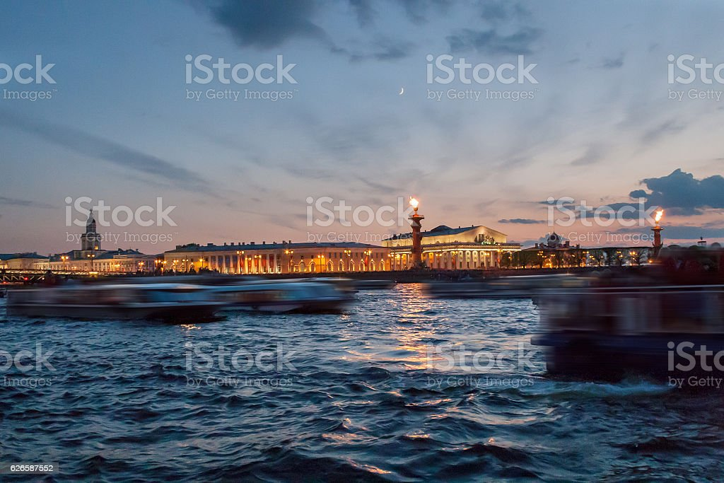 View of the spit of Vasilevsky Island at night in stock photo