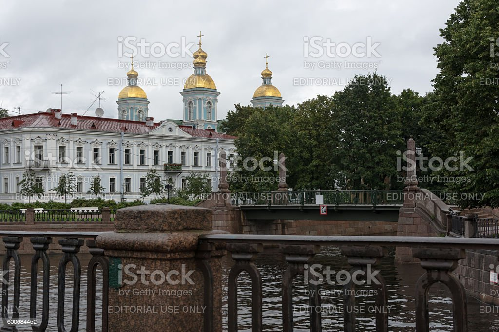 View of the  St. Nicholas Cathedral in Saint-Petersburg, Russia. stock photo