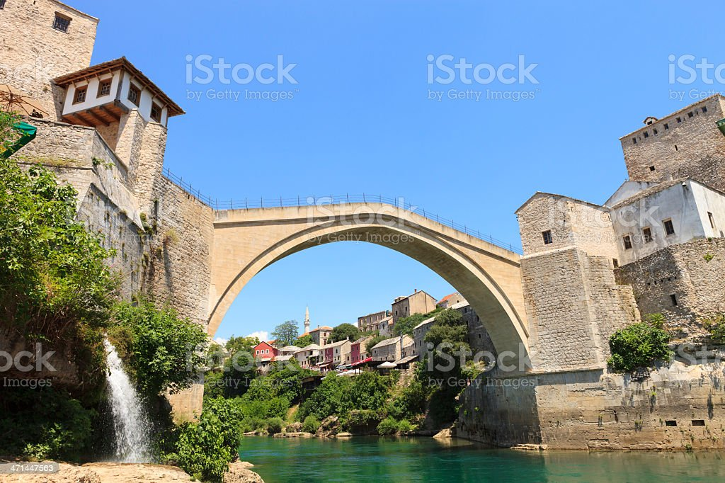 A view of the Stari Most bridge in Bosnia stock photo