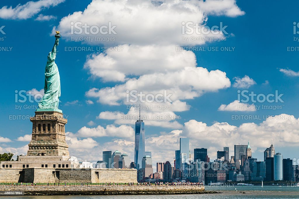 View of the Statue of Liberty and Manhattan stock photo