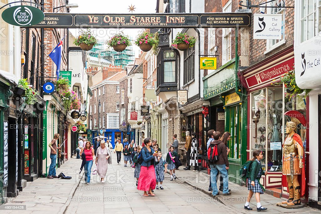 View of the Stonegate street in York, England royalty-free stock photo