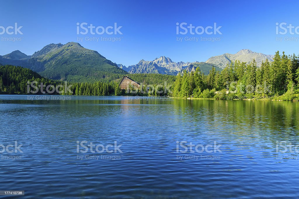 View of the Strbske Pleso and mountains. royalty-free stock photo