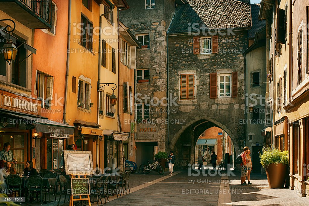 View of the street in city centre of Annecy stock photo
