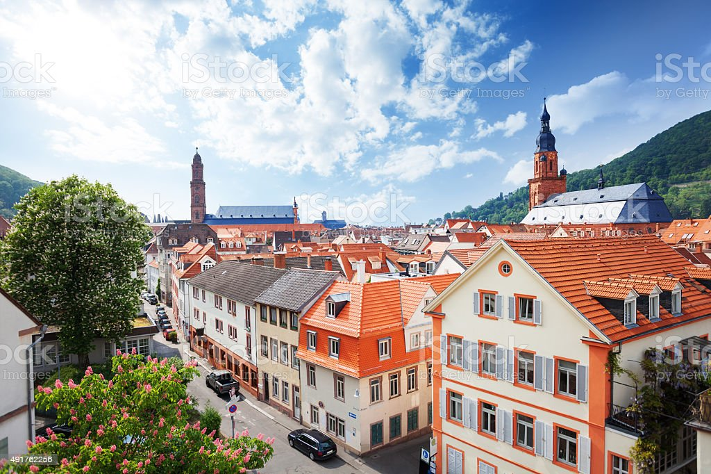 View of the street in Heidelberg, Germany stock photo