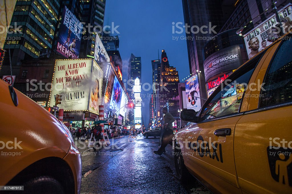 View of the street in Times Square stock photo