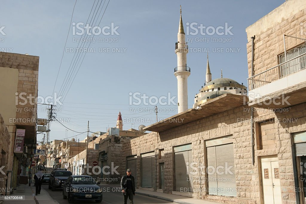 View of the street in town of Madaba in Jordan stock photo