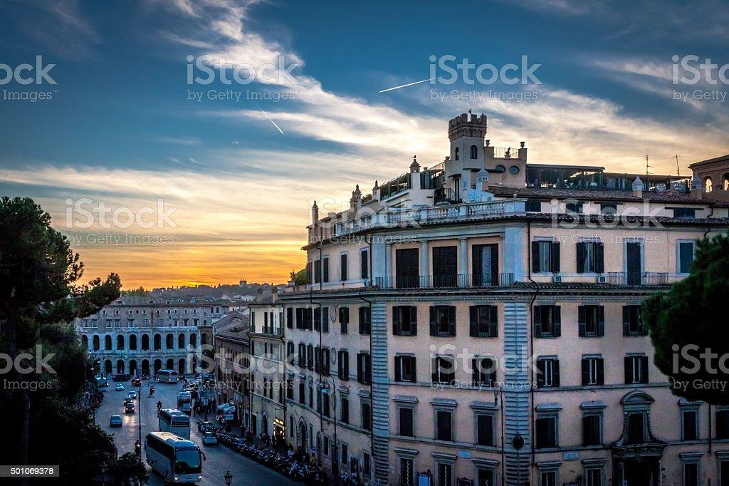 View of the street near Piazza Campidoglio stock photo