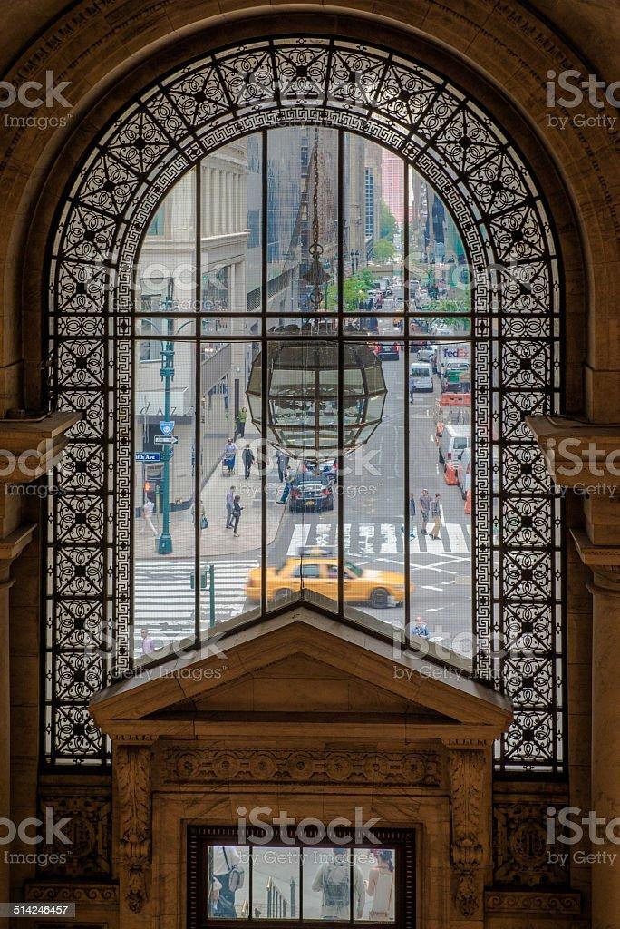 View of the Street through window stock photo