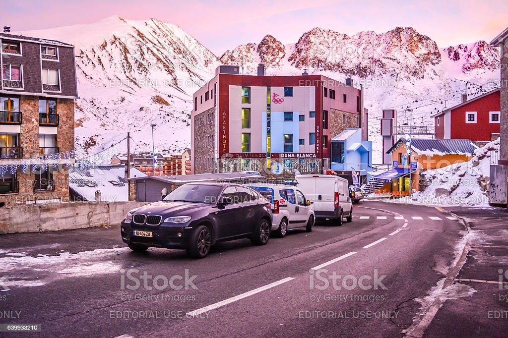 View of the streets of Pas de la Casa - Andorra stock photo