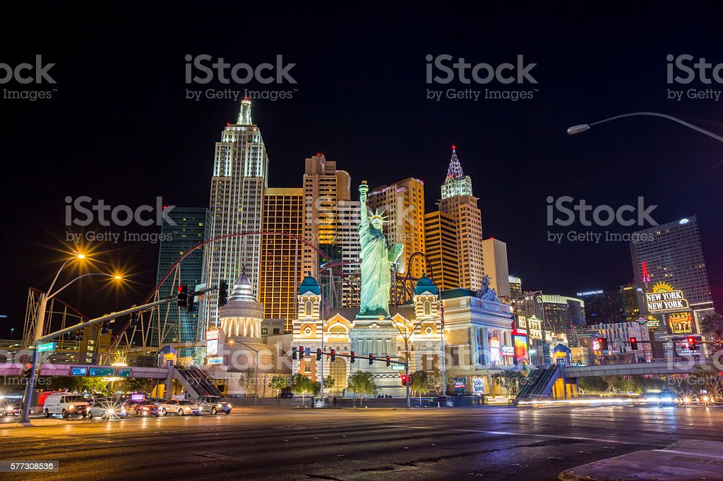 View of the strip  in Las Vegas. stock photo