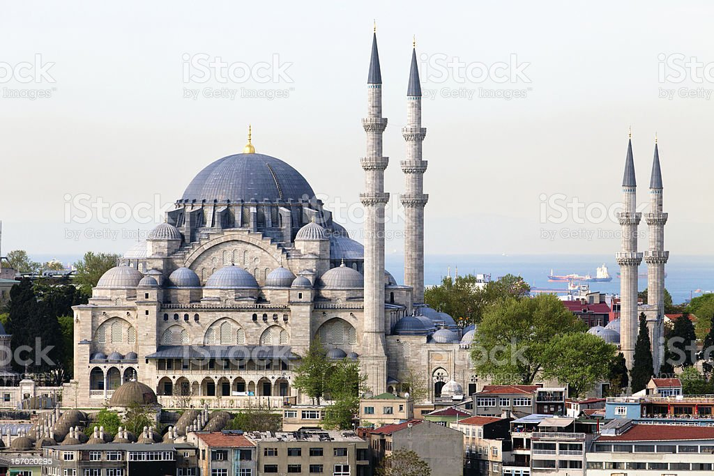 View of The Suleymaniye Camii mosque in Istanbul city, Turkey stock photo