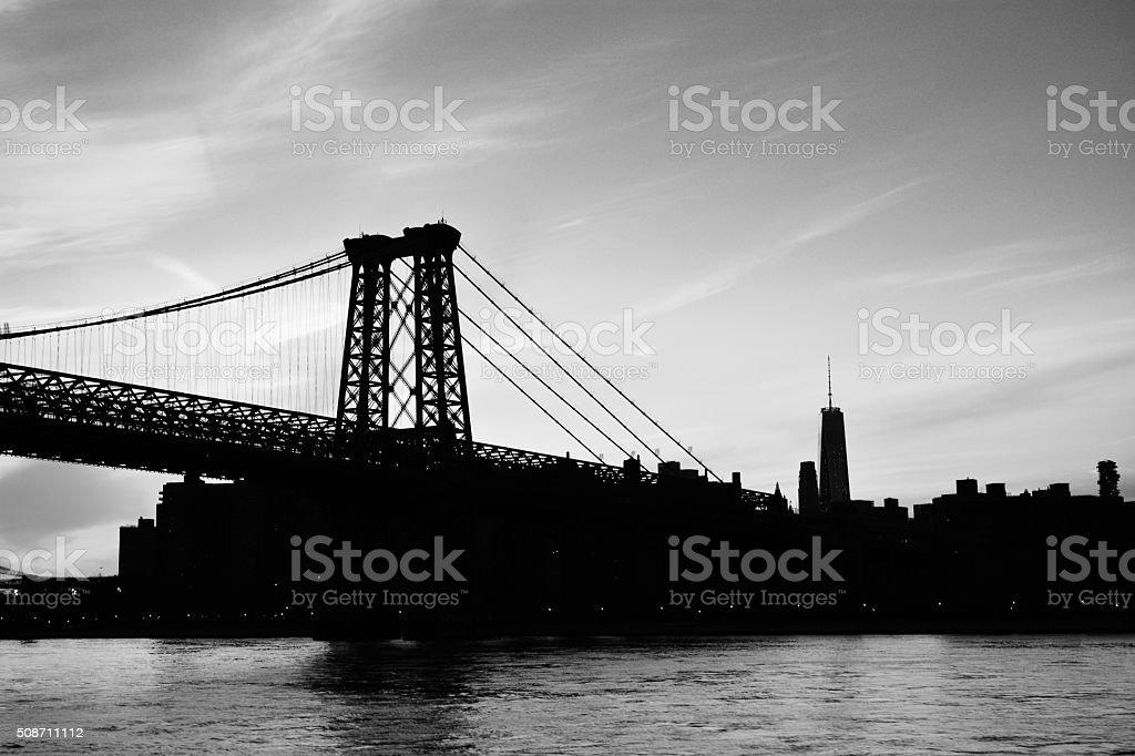 View of the sunset at New York City williamsburg bridge stock photo