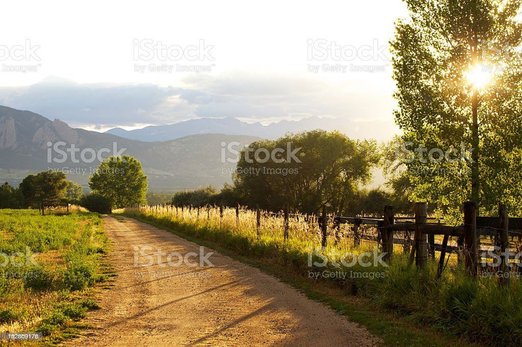 View of the sunset on a farm, from the road  stock photo