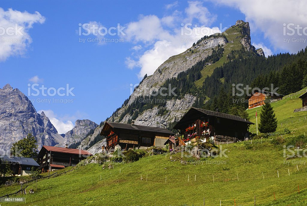 View of the Swiss alps: Beautiful Gimmelwald village, central Sw stock photo