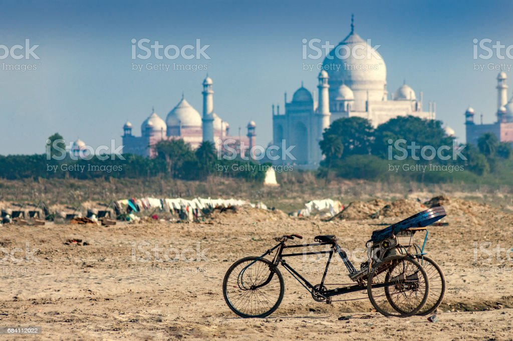 A view of the Taj Mahal seen from plains of Yamuna River, stock photo