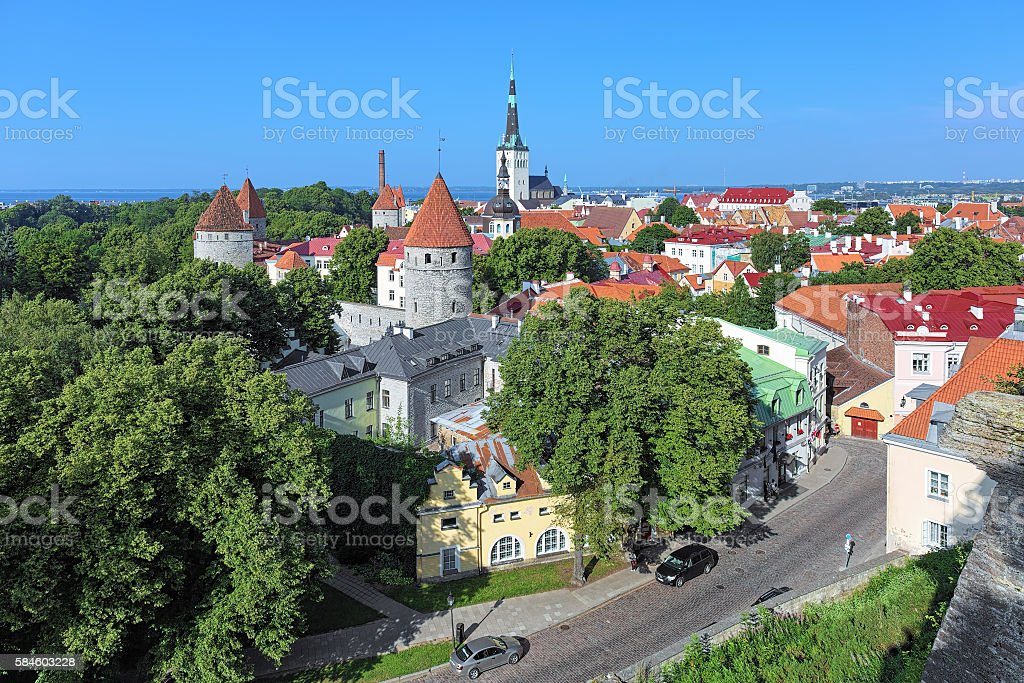 View of the Tallinn Old Town, Estonia stock photo