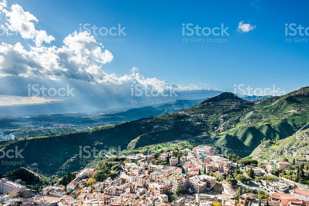 View of the Taormina city and Tyrrhenian Sea. Sicily. Italy. stock photo