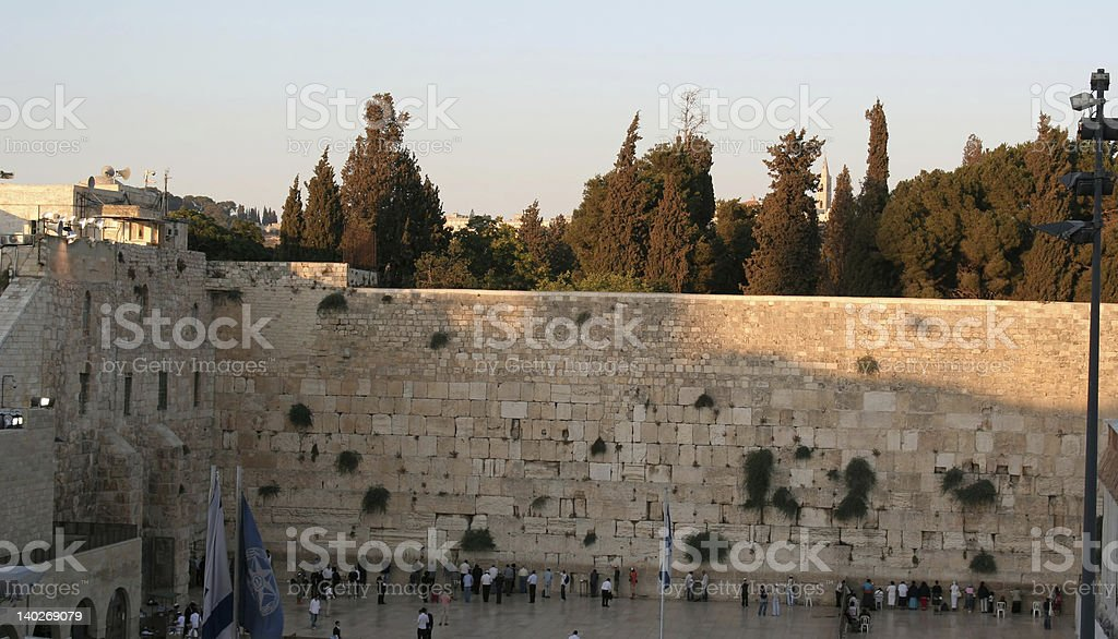view of the Temple Mount in Jerusalem at sunset royalty-free stock photo