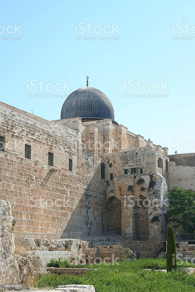 View of the Temple Mount in Jerusalem royalty-free stock photo