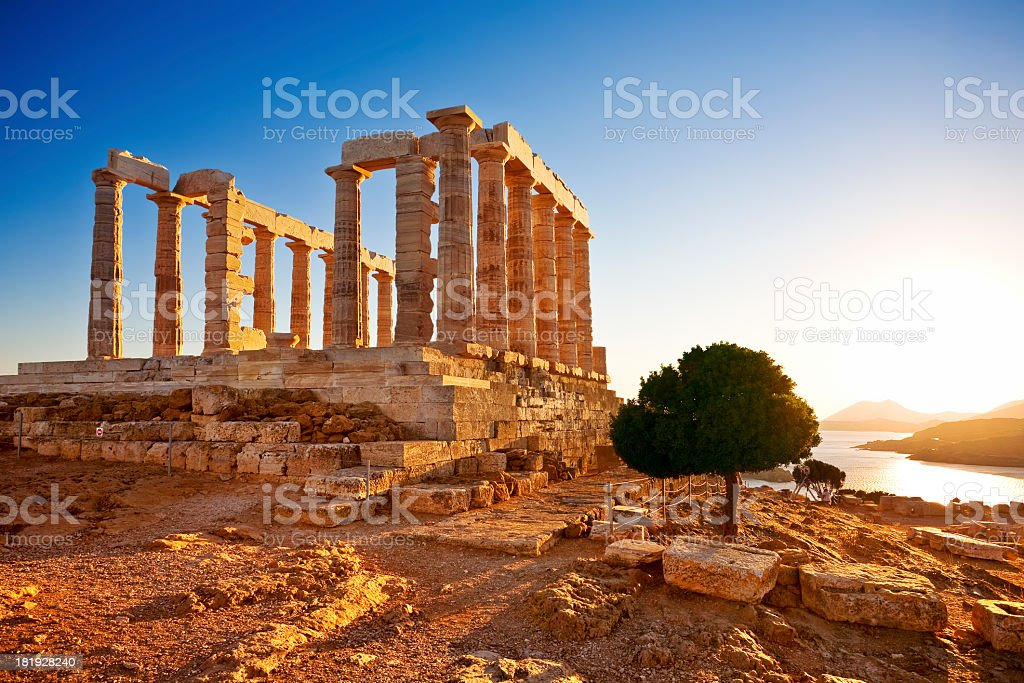 A view of the Temple of Poseidon at Cape Sounion, Greece stock photo