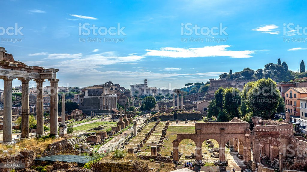 View of the Temple of Saturn and the Basilica Giulia stock photo
