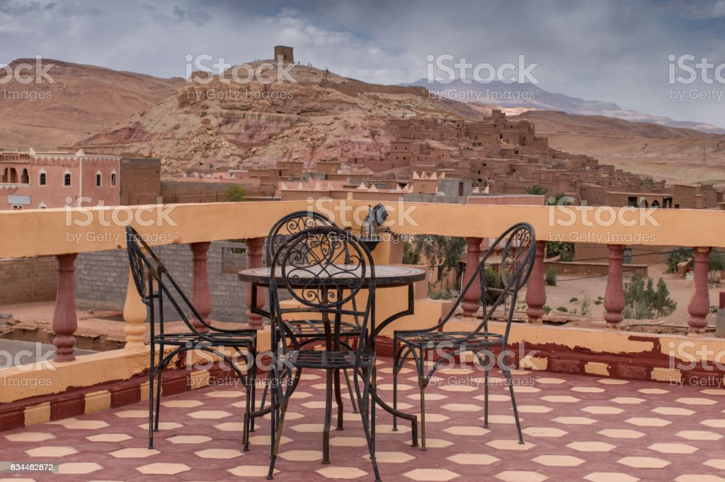 View of the terrace of the roof the Ksar Ait Ben Haddou in Morocco stock photo