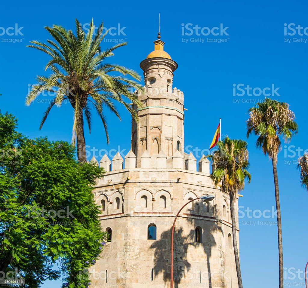 View of the Torre del Oro in Seville, Spain stock photo