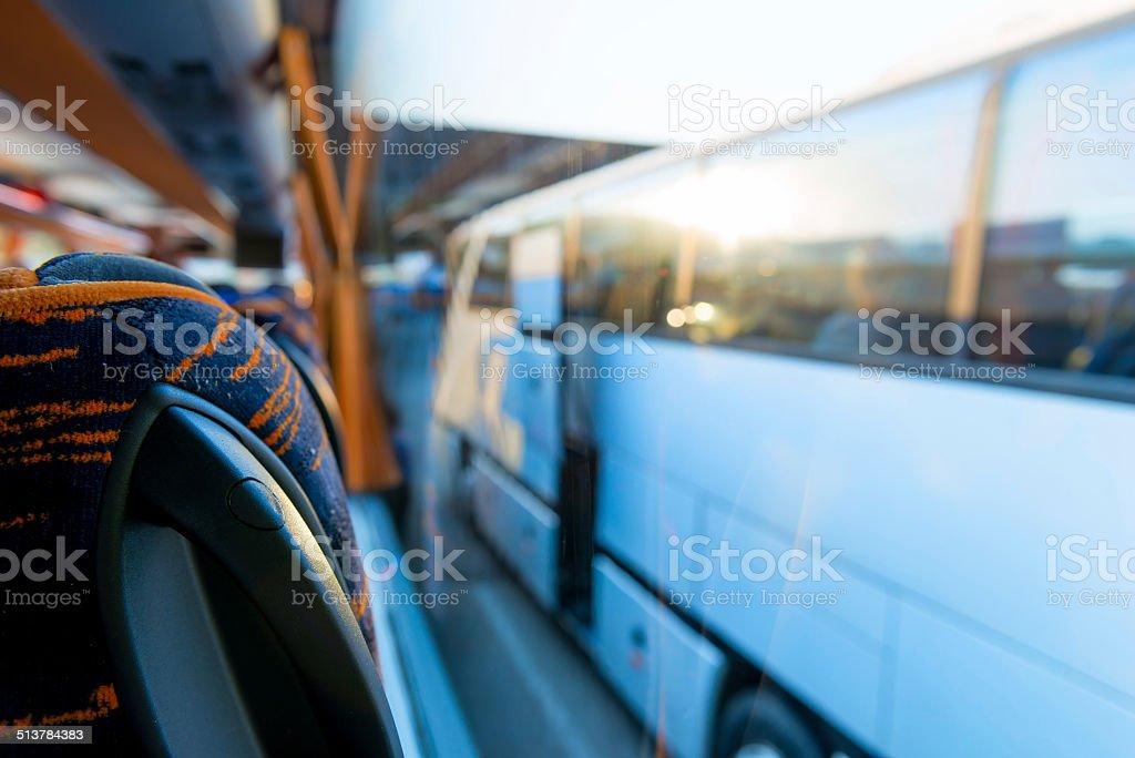 view of the tourist bus through the window stock photo
