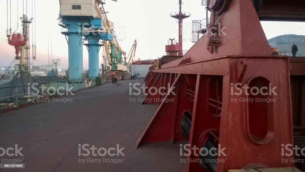 View of the tower support tower crane. Industrial port. stock photo