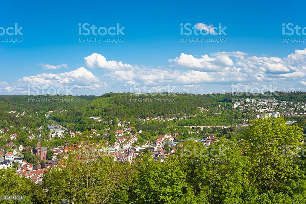 View of the town Hohennagold stock photo