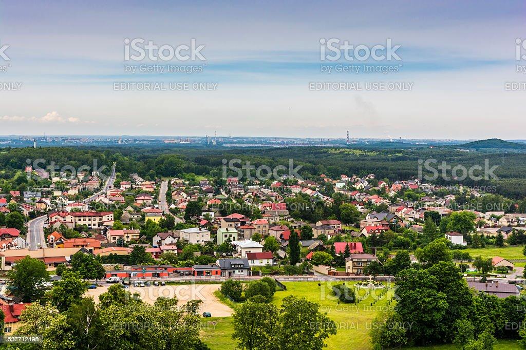 View of the town of Olsztyn near Czestochowa in Poland. stock photo