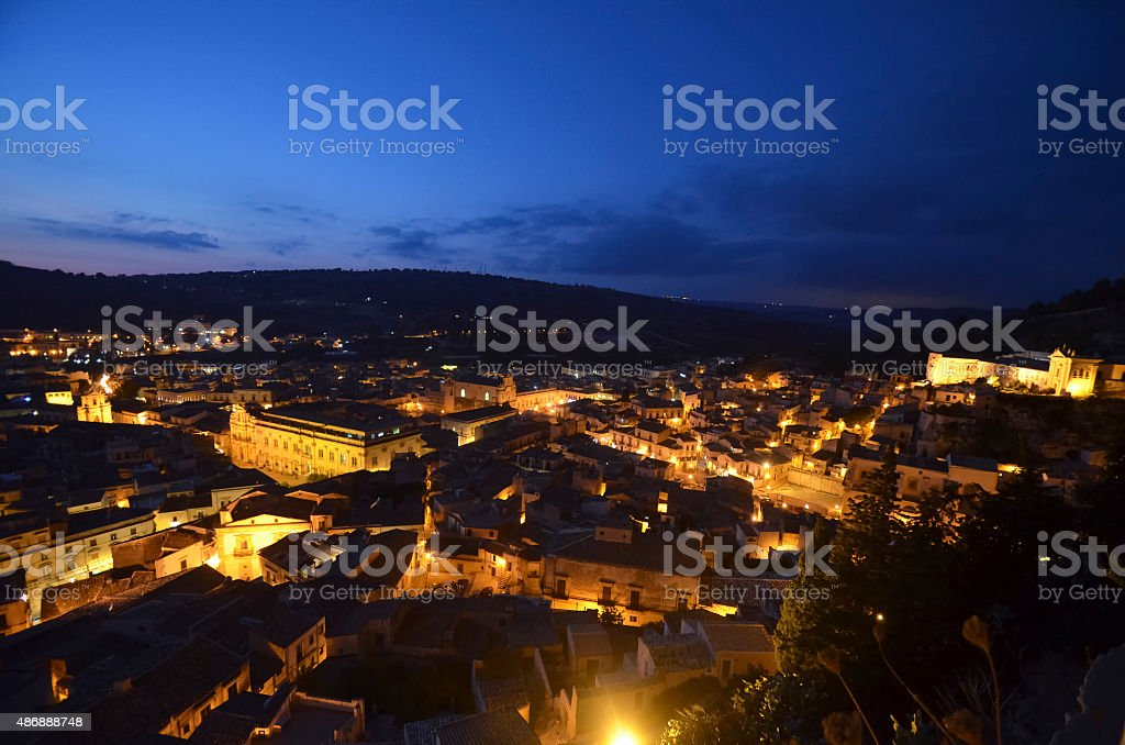 View of the town of Scicli stock photo