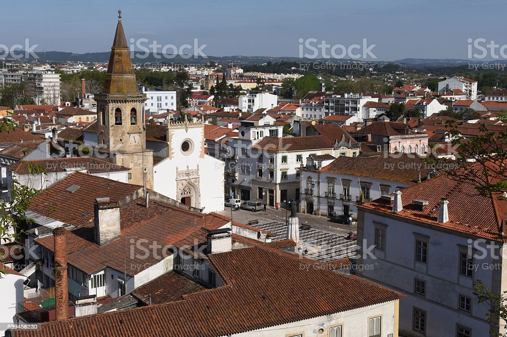 view of the town of Tomar, District of  Santarem, Portugal stock photo