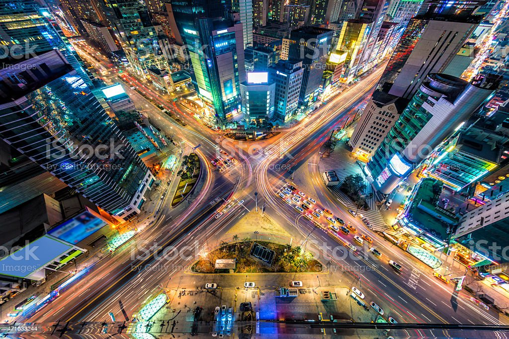 A view of the traffic in Seoul from above stock photo