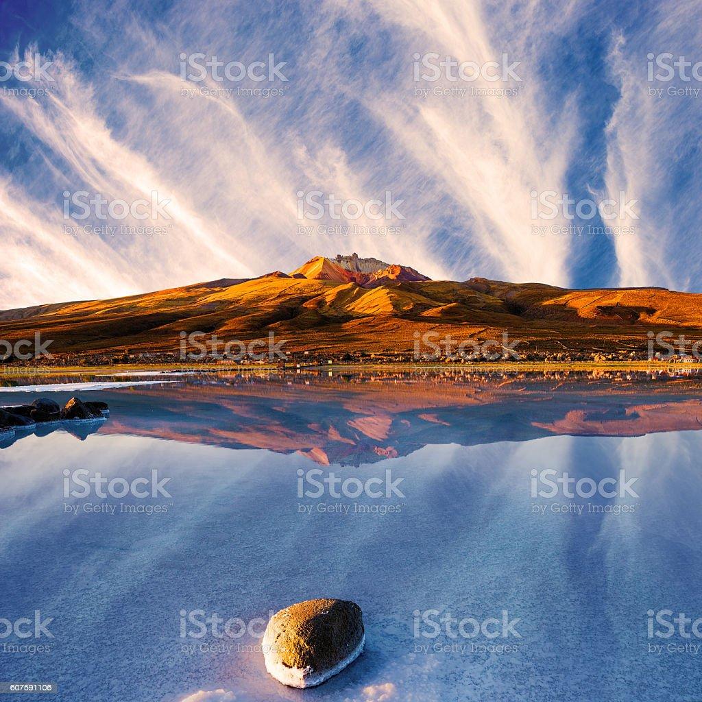 View of the Tunupa Volcano , Salar de Uyuni in Bolivia stock photo