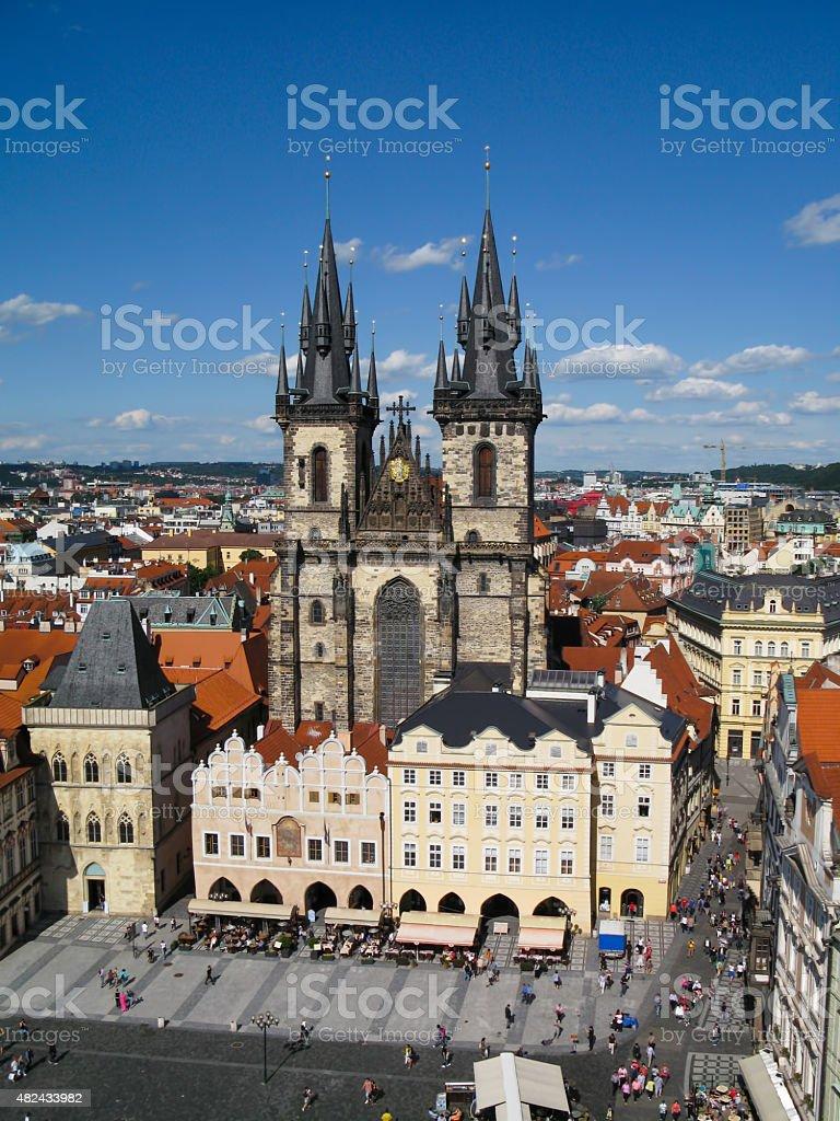 View of the Tyn Church in Prague, Czech Republic stock photo