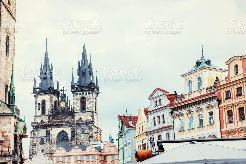 view of the Tyn Church in Prague. Czech Republic stock photo