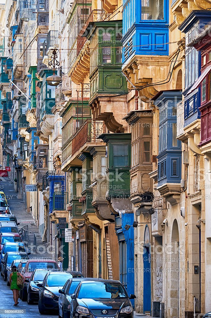 A view of the typical Street of Valletta with traditional stock photo