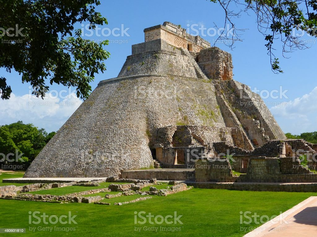 View of the Uxmal pyramid in Mexico stock photo