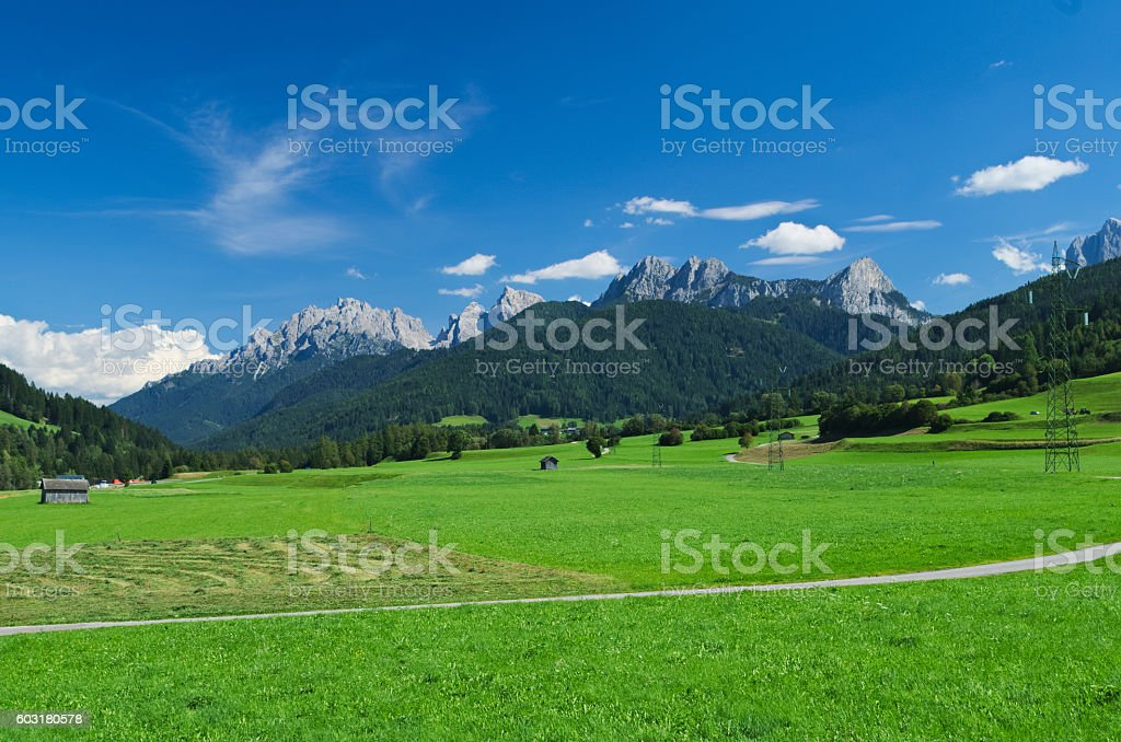 View of the Val Casies (Gsies tal) stock photo