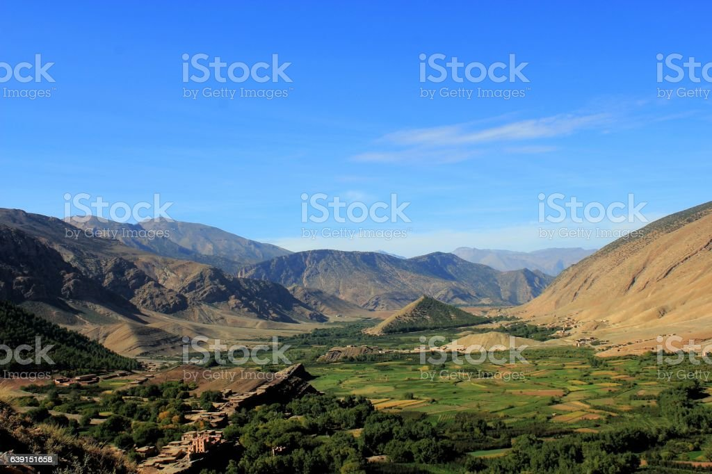 view of the valley bouguemez morocco stock photo