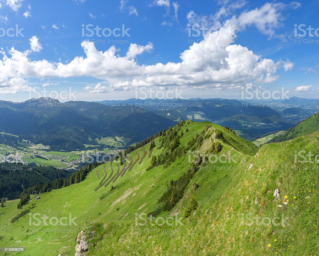 View of the valley Kleinwalsertal stock photo