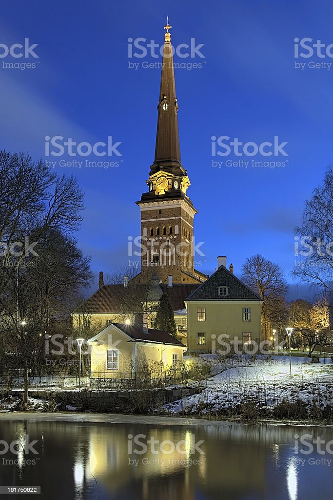 View of the Vasteras Cathedral in winter morning, Sweden stock photo