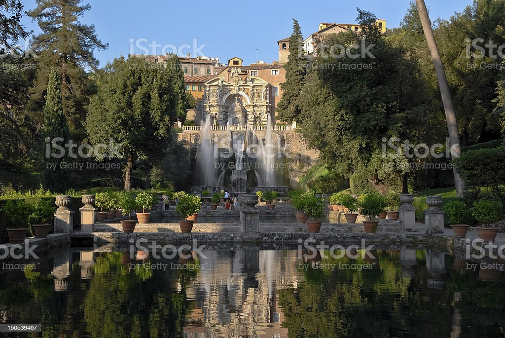 View of the Villa d'Este in Tivoli stock photo