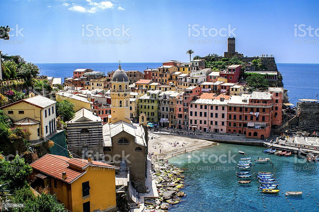 View of the village and beach of Vernazza stock photo