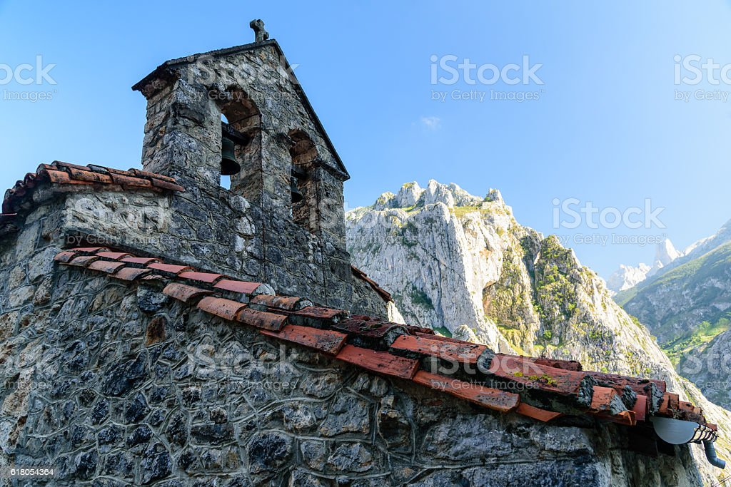 View of the village in Asturias stock photo