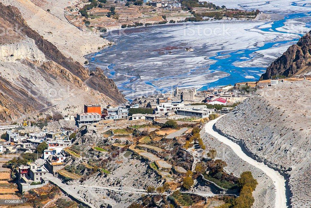 view of the village Kagbeni stock photo