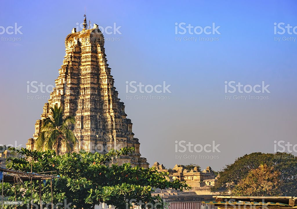 View of the Virupaksha temple from Hampi, India. stock photo