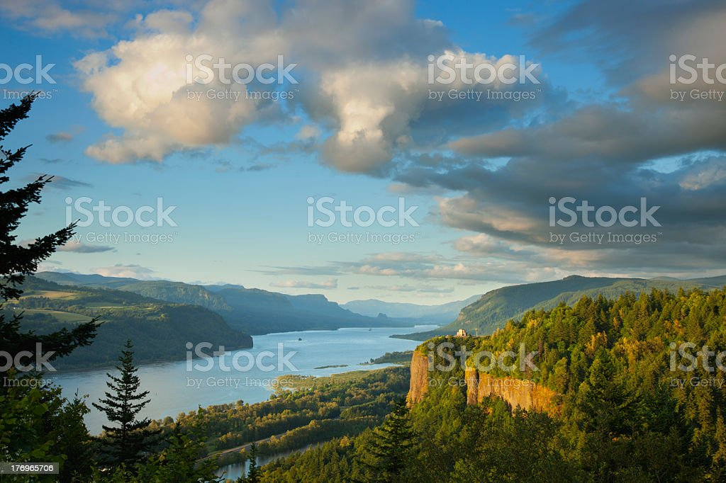 View of the Vista House and river gorge in Columbia stock photo