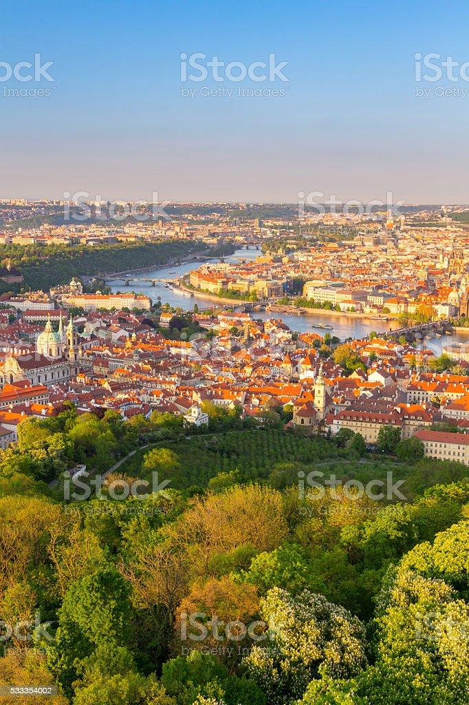 View of the Vltava River and the bridges, Prague stock photo
